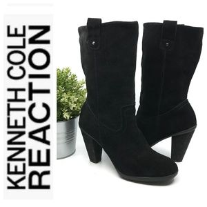 Kenneth Cole HAPPY HUNT Black Suede Boots Size 9